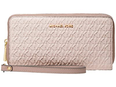 MICHAEL Michael Kors Jet Set Large Double Zip Wristlet (Soft Pink/Fawn) Handbags