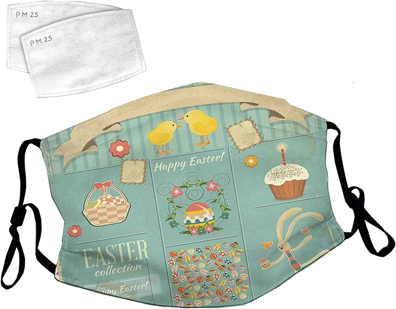 Reusable Chicago Mall Face Mask Max 49% OFF with Adjustable Ear Easter Rabbi Themed Loops