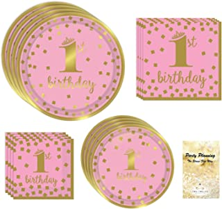 1st Birthday Girl Party Supplies, Pink and Gold Design, Bundle of 4 Items: Dinner Plates, Dessert Plates, Lunch Napkins and Beverage Napkins