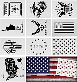 10 Pack American Flag Stencil Templates, Reusable Mylar Stencil for Painting on Wood, Fabric, Paper, Airbrush, Notebook,Walls Art