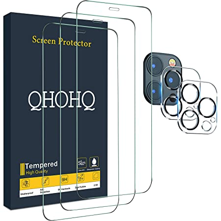"""QHOHQ 3 Pack Screen Protector for iPhone 12 Pro Max [6.7""""] with 2 Packs Camera Lens Protector, Full Screen Tempered Glass Film, 9H Hardness - HD - 2.5D Edge - Bubble Free - Scratch Resistant"""