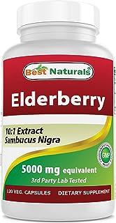 Best Naturals Elderberry Sambucus Nigra 5000mg Equivalent 120 Veg Capsules