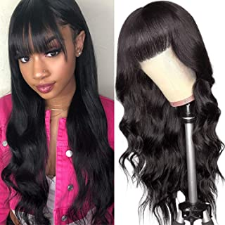 Aelinsi hair Body Wave Lace Front Wigs With Bangs for Black Women Brazilian Virgin Human Hair Wig With Baby Hair Pre Pluck...