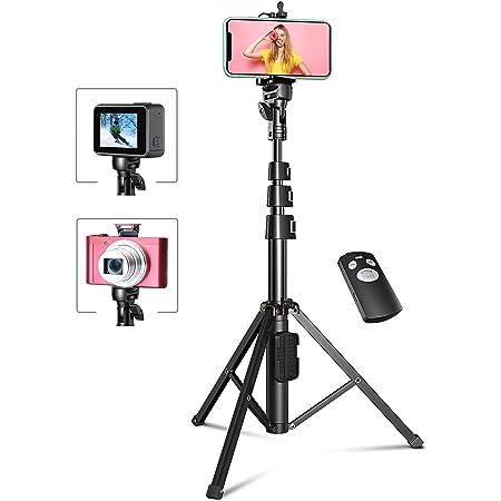 Bovon Trépied Smartphone, 133cm Extensible Perche Selfie Trépied Stable avec Télécommande Bluetooth Détachable Compatible avec Smartphone, Gopro et Caméra
