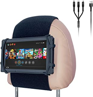 Car Headrest Mount Silicon Holder for Nintendo Switch Console, iPad Mini, Kindle Paperwhite with 3-in-1 Charging Cable (Bl...