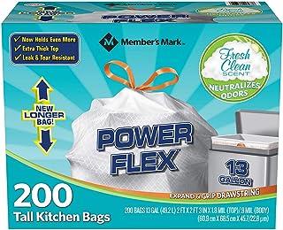 Member's Mark Power Flex 13 Gallon Tall Kitchen Bag Net Count 200, Count