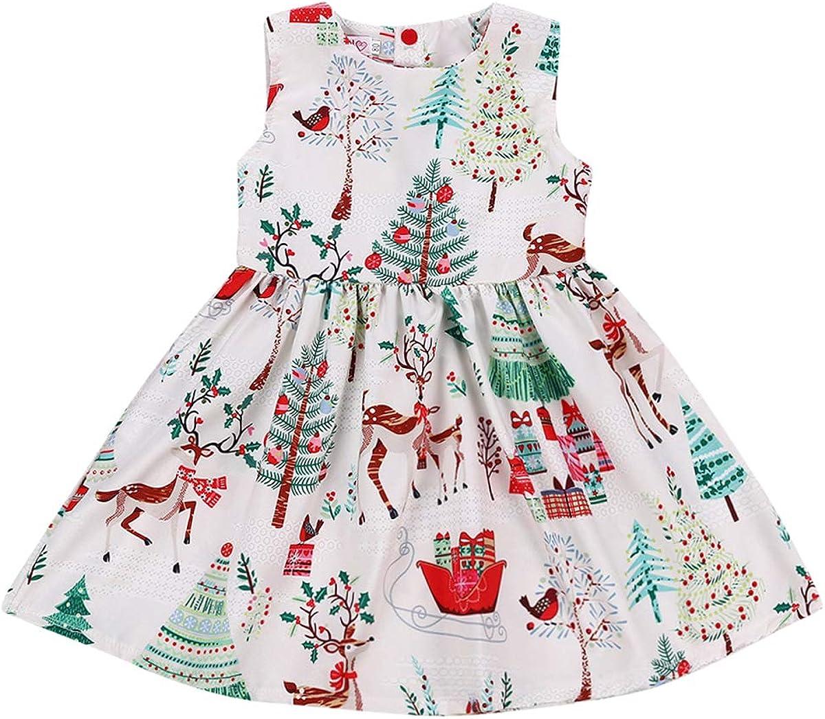 Wassery Toddler Baby Girls Christmas Sleeveless Dress Cartoon Deer Floral Print Clothes
