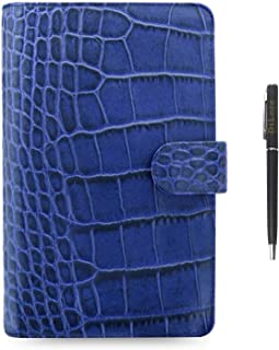 Filofax Classic Croc Print Leather Organizer Agenda Diary Calendar Bundle with DiLoro Ballpoint Pen (Indigo 2021 with Pen,... photo