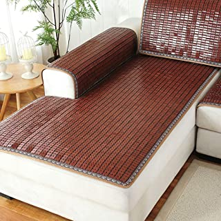 LH Bamboo Mat Sofa Cushion Summer Chinese Mahjong Bamboo Mat Sofa Cover Car Seat Bay Window Cushion Combination Set 80×180cm (Color : A, Size : 75×200cm)
