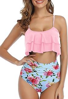 Tempt Me Women 2 Piece Flounce Off Shoulder High Neck Palm Tree Print Halter Bikini Set