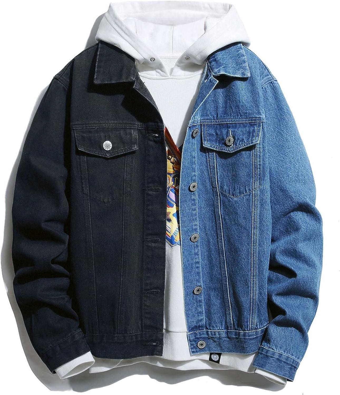 Huangse Jean Jacket for Men Color Block Button Down Slim Fit Denim Jacket with Pockets Trucker Jacket