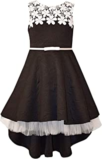 Big Girls 7-16 Sleeveless Lace belted High low Dress - Black Party Dress