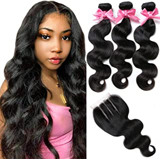 "Brazilian Virgin Hair 3 Bundles with Closure Brazilian Body Wave 8A 100% Unprocessed Human Hair bundles With Lace Closure Natural Black Color by YAVVE (14"" 16"" 18""+12""closure, Three Part)"
