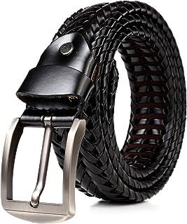 JINSELF ベルト メンズ 【A級本革】 レザー 革 バックル カジュアル ビジネス 編み込み メッシュ ダークシルバー