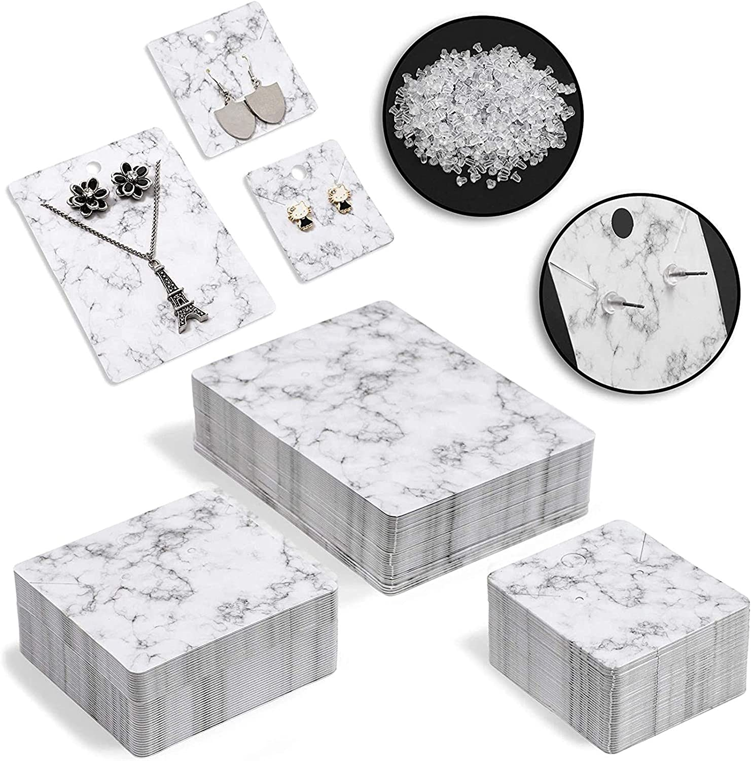 Jewelry Display Cards with Secure Back, Marble Design (3 Sizes, 810 Pieces)