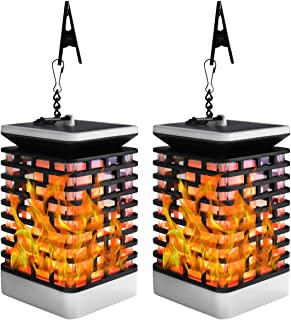 2 Pack Solar Flame Lanterns Lights, LED Flickering Flames Torch Light, Outdoor Waterproof Hanging Lantern Light for Pathway Walkway Garden Great for Home Decor