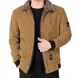 Beautyfine Autumn Winter Corduroy Cotton Coat Casual Solid Color Plus Velvet Warm Comfortable Overcoat