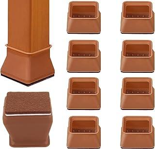 Mukeyo 椅子脚カバー チュアーソックス 椅子あしキャップ シリコン 騒音 きず防止 滑り止め レフィル付き 角脚専用 (角脚専用 直径30-45mm, ブラウン)