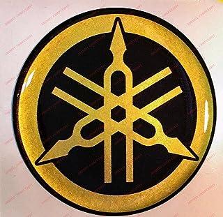Escudo Logo Decal Yamaha, adhesivo, resina efecto 3d. ) Color Negro–Dorado. Para depósito o casco