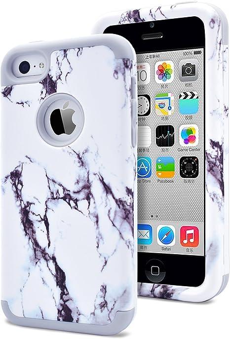 Dailylux Coque pour iPhone 5C Coque en polycarbonate, trois couches en silicone souple antichoc et antidérapant, pour iPhone 5C Or rose