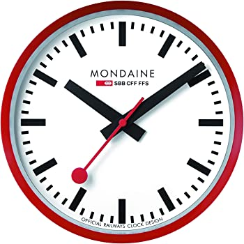 MONDAINE (モンディーン) 掛け時計 ウォールクロック レッド A990.CLOCK.11SBC