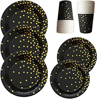 Black and Gold Party Supplies - 72-piece 24 Sets Disposable Paper Plates with Gold Foiled Polka Dot Confetti Disposable Dinnerware Plates and Cups Party Set - 9