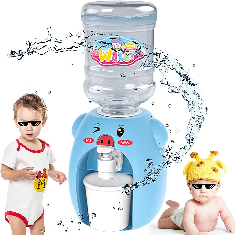 Dispensador De Agua De Dibujos Animados Vida En Miniatura Mini Máquina De Bebidas Dispensador De Agua Azul Dispensador De Agua Para Niños Con Balde y Taza Para Niñas Pequeños Hogar Niños Regalo Azul