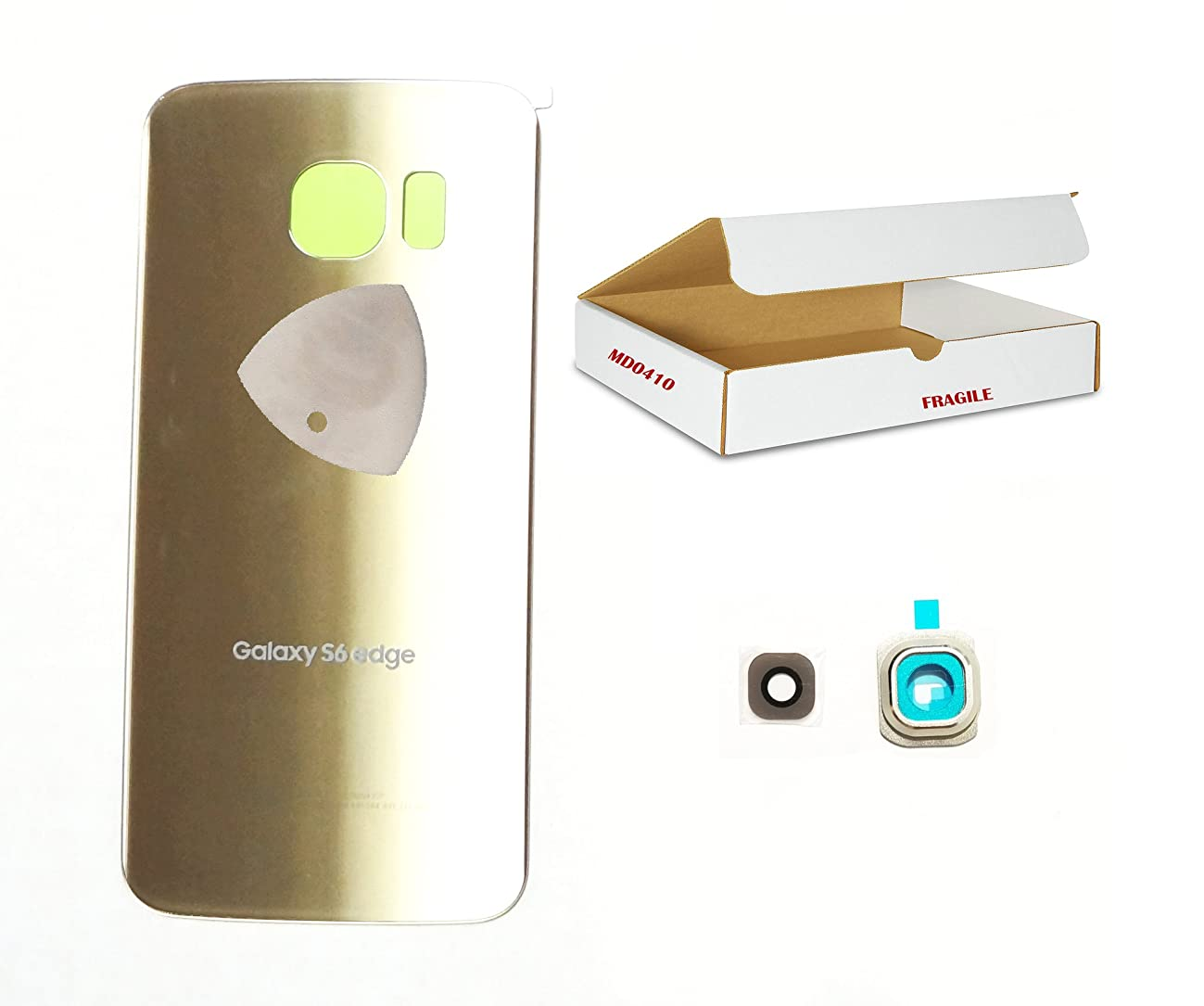 (md0410) Gold back door rear battery housing camera lens cover Compatible for Galaxy S6 Edge G925 replacement + adhesive + opening tool
