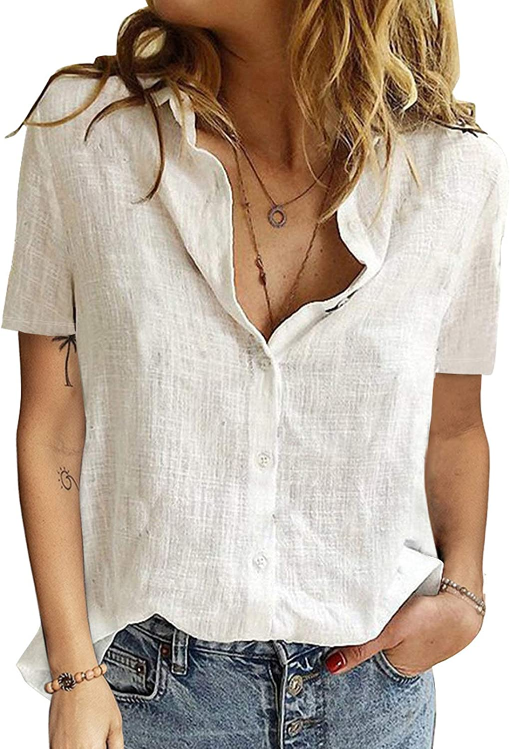 Dokotoo Blouses for Women Casual V Neck Solid Color Chiffon Button-Down Shirts Tops