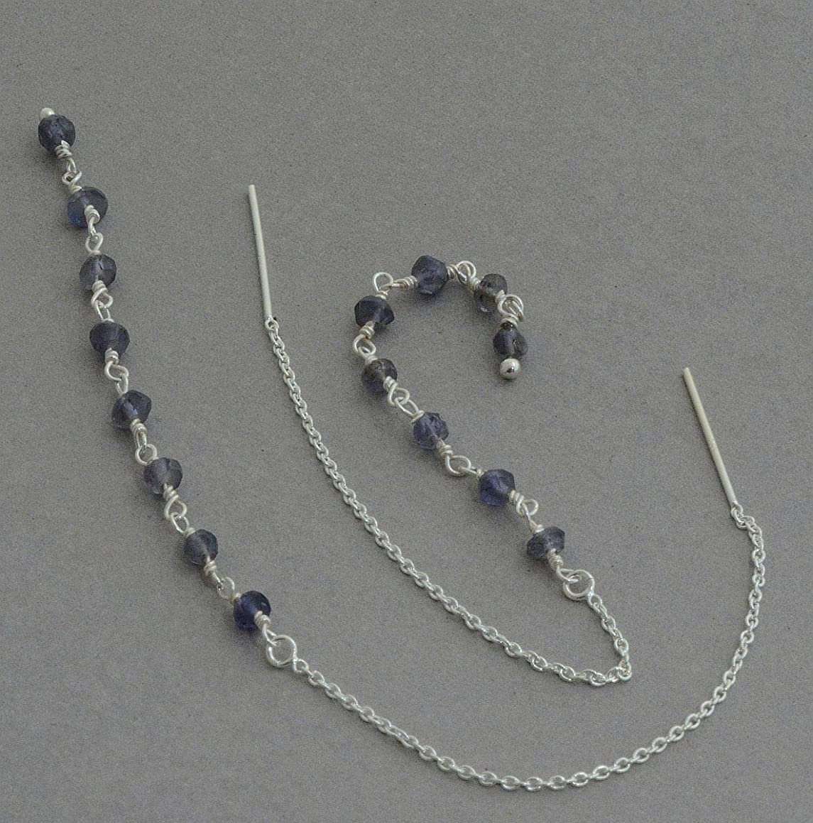 Long Iolite sterling silver chain threader earrings front back ear threads