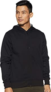 WOKNIT Men's Hooded Zipper Full Sleeve Black Sweatshirt