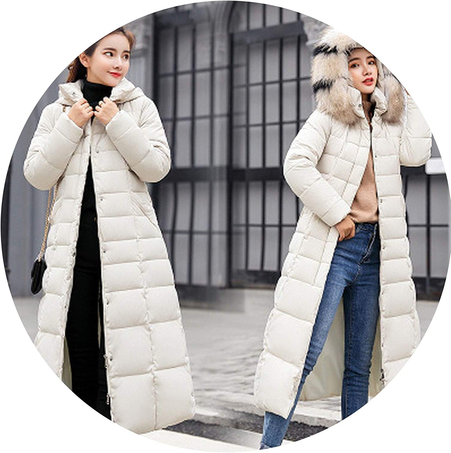 SurpriseShow Women Coats Winter Leisure Loose Size Fur Collar Hooded Keep Warm Down Cotton Clothing Coat