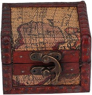 Jiawu Caisse de boîte en Bois Vintage, boîte en Bois Pratique Portable Vintage, pour Boucles d'oreilles Accessoires de Bij...