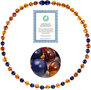 Amber Necklace (13 inches) | GIA Certified 100% Pure Baltic Amber - Unisex (Cognac/Lapis Lazuli Amber Jewelry Necklace)