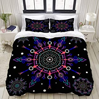 """Mokale Duvet Cover,Zipper Closure,Winter Background Five Blue Pink Snowflakes,3 Pieces Bedding Set with 2 Pillow Shams King Size(104""""X90"""")"""