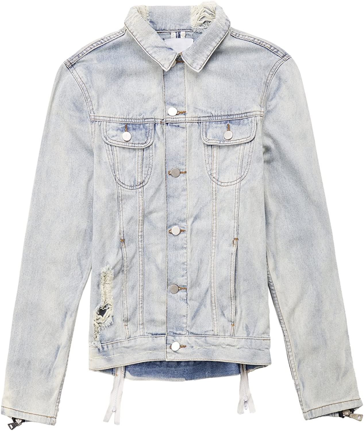 607f37c1d ZHOUBU Men's Fashion Ripped Distressed Coat Collar Denim Jacket Jacket  Jacket With Hand Zippers d27d57