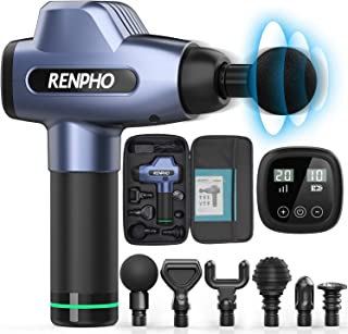 RENPHO Massage Gun Deep Tissue, Muscle Massagers, Powerful Handheld Quiet Percussion Massager with 20 Speed Levels 6 Heads...