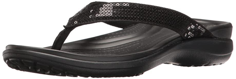 Crocs Women's Capri V Sequin Flip Flop   Casual Sandal With Extra Soft Footbed and Soft Leather Straps    Lightweight Beach Shoe