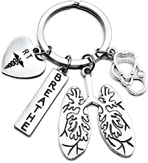 RT Respiratory Therapist Keychain, RT Keychain, Respiratory Therapy Gift, Lung Keychain, Lung Specialist Keychain, Stethos...
