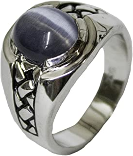Men's Rhodium Plated Dress Ring Synthetic Cat's Eye 062