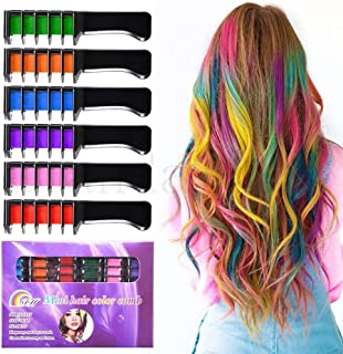 Temporary Bright Hair Chalk Set - Kalolary Metallic Glitter for All Hair Colors- Built in Sealant,For for Valentine's Day Kids Hair Dyeing Party and Cosplay DIY, 6 Colors