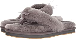 53e39c6fe Justin furry flip flop slippers grey