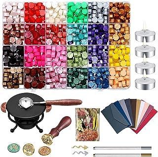MOPOIN Sceau Cire Kit, 600 Pcs Perles de Cire à Cacheter avec Chauffe Joint de Cire et Cire Tampon pour Rétro Timbres de C...