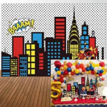 Allenjoy 8x6ft Superhero Themed Backdrops Super City Skyline Buildings Children Birthday Photography Party Event Banner Photo Studio Booth Background Baby Shower Photocall Decorations Supplies
