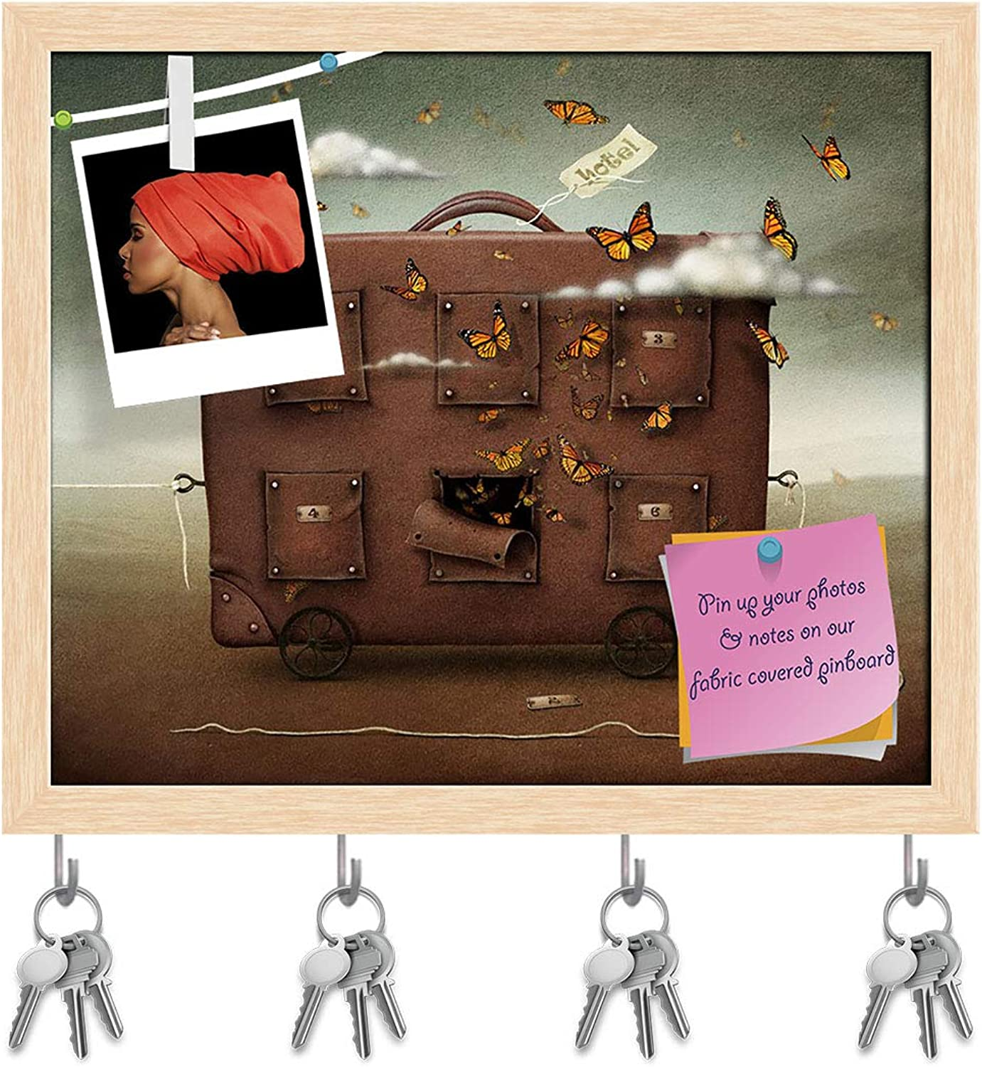 Artzfolio Wandering Suitcase Key Holder Hooks   Notice Pin Board   Natural Brown Frame 19 X 16Inch