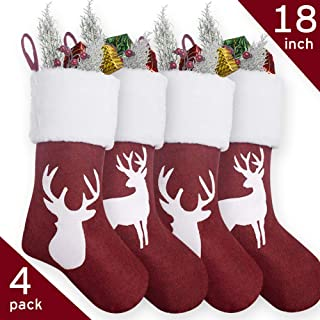 Sooez Christmas Stockings 4 Pack, 18 inch Stocking for Christmas Reindeer Printed Christmas Stocking Red Burlap Plush Faux Fur Cuff Xmas Stockings for Family Party Decor