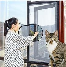 Wit venster scherm mesh kattennet met rits, zelfklevend gaas houden bugs/vliegen/muggen uit, wit frame wit net, positie 5....