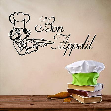 Bon Appétit Cuisine Cafe Home Bar Famille Citation Mur Vinyl Autocollant Décalque Blanc WH