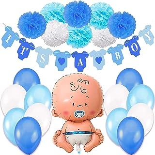 Decoraciones Fiesta de Bienvenida de Bebe Niño. Bandera Es Un Chico It's a Boy + Globo de Papel de Aluminio a Recien Nacido + 8 Pompones + 12 Globos. Accessorios Baby Shower