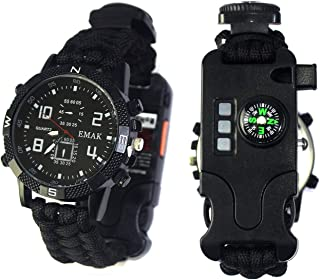Charles Men & Women Outdoor Sports Emergency Survival Bracelet Digital Watch with Compass,Whistle,